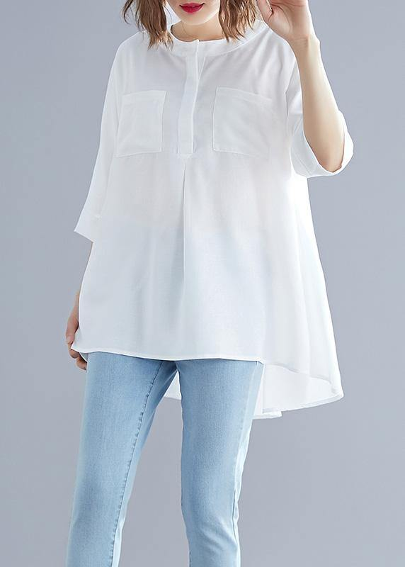 Art white cotton top silhouette low high design Midi summer half sleeve shirt