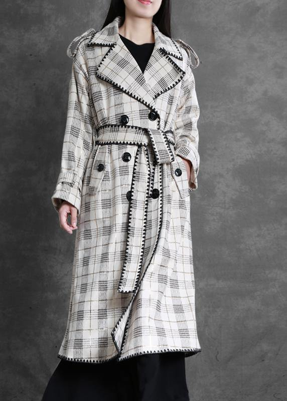 Art white plaid fine trench coat Gifts Notched back side open outwears