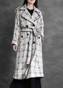 Art white plaid top quality trench coat Gifts Notched back side open outwears