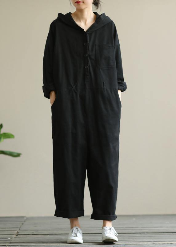 Artistic hooded black all-match long-sleeved casual nine-point jumpsuit