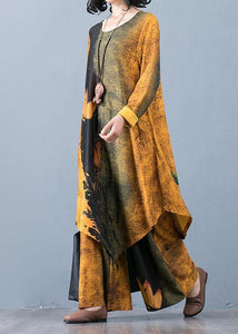 Autumn Knitted Yellow Print Irregular Medium Long Top Loose Wide Leg Pants Two Piece Set