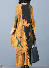 Load image into Gallery viewer, Autumn Knitted Yellow Print Irregular Medium Long Top Loose Wide Leg Pants Two Piece Set