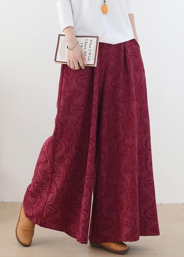 Autumn and winter Retro Red jacquard thickened women's wide leg pants
