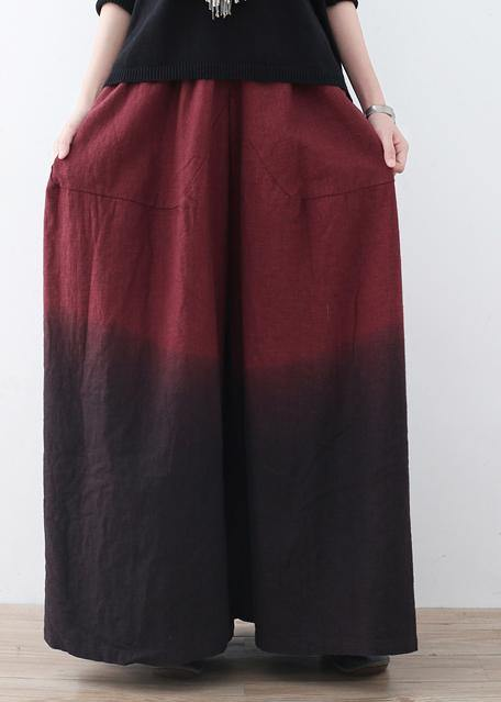 Autumn and winter new drawstring pleated thick wine red pants