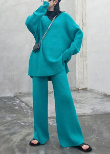 Autumn and winter suit 2020 new women's fashion knitted wide leg pants blue green two piece