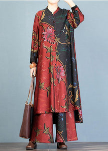 Autumn large size retro long coat jacket loose wide leg pants red printed two-piece suit
