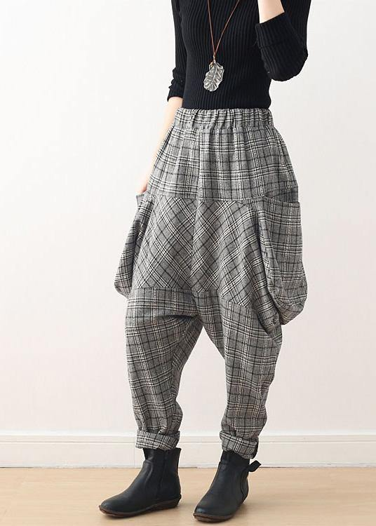 Autumn new retro thick large size warm knitted gray plaid harem bloomers