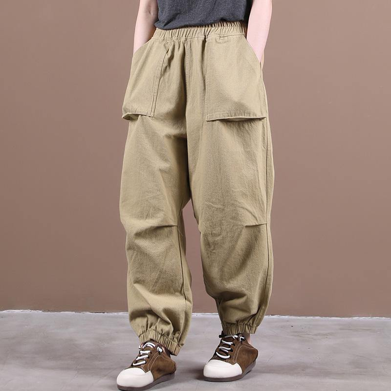 Autumn new style three-dimensional pocket elasticated foot pleated casual pants