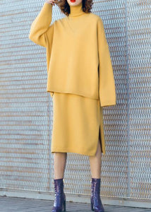 Autumn new temperament yellow high collar long-sleeved sweater suit skirt two-piece