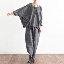 Autumn outfits gray stylish linen tops and causal linen pants tow pieces linen