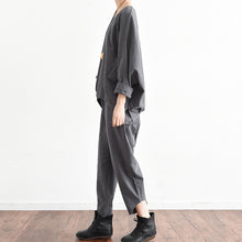 Load image into Gallery viewer, Autumn outfits gray stylish linen tops and causal linen pants tow pieces linen
