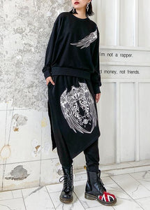 Autumn suit slimming casual black printed long-sleeved sweater harem pants two-piece suit