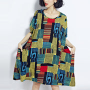 Baggy green prints cotton shift dresses plus size traveling clothing vintage o neck short sleeve cotton dress