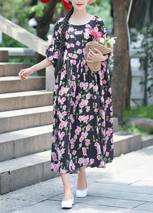 Beach black print chiffon clothes Plus Size Ideas o neck half sleeve Summer Dress