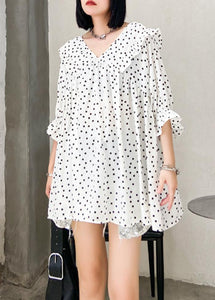Beach white dotted chiffon clothes plus size Sleeve v neck Ruffles Love tops