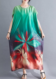 Beautiful Batwing Sleeve Wardrobes pattern green prints Maxi Dresses summer
