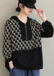 Beautiful Black Print Tunics For Women Hooded Pockets Spring Tops