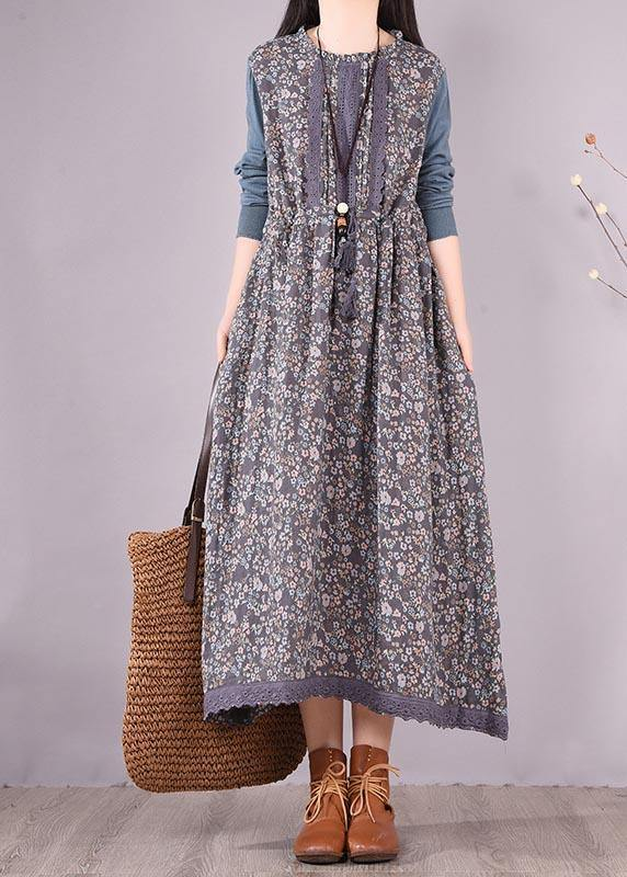 Beautiful Blue Patchwork Print Dresses O Neck Lace Robe Spring Dresses