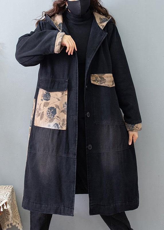 Beautiful Denim Black Quality Clothes For Women Tutorials Hooded Pockets Spring Coats