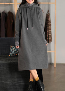 Beautiful Hooded Pockets Spring Clothes For Women Fabrics Gray Dress