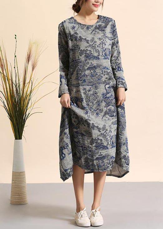 Beautiful Navy Print Quilting Dresses O Neck Pockets Maxi Dresses