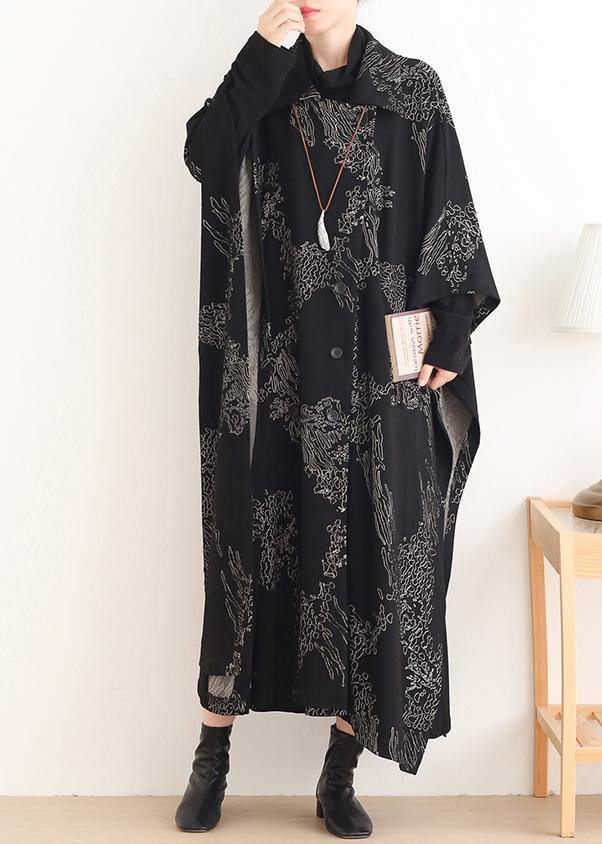 Beautiful Notched asymmetric Plus Size coats women black print silhouette coats