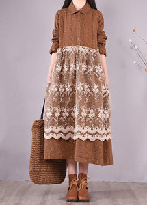 Beautiful Patchwork Lace Spring Clothes For Women Catwalk Chocolate Print Long Dresses