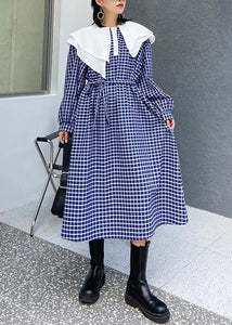 Beautiful Ruffled tie waist cotton fall clothes Outfits blue plaid Plus Size Dress