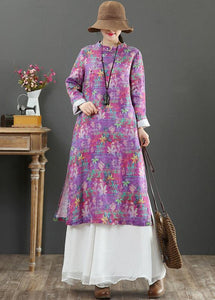 Beautiful Stand Collar Chinese Button Spring Outfit Catwalk Purple Print Maxi Dresses