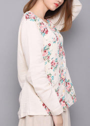 Beautiful White Print Linen Spring Top