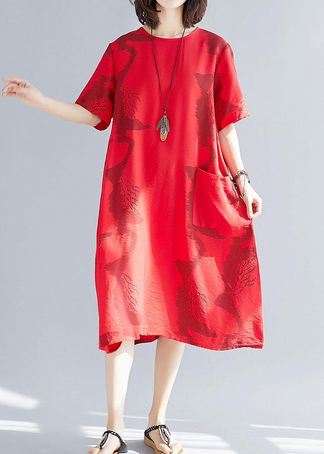 Beautiful big pockets cotton clothes Women Sleeve red prints wild cotton robes Dress summer