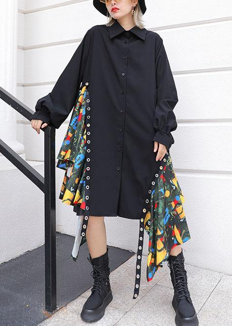 Beautiful black Cotton dress side patchwork Plus Size fall shirt Dress