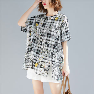 Beautiful black Plaid linen cotton Long Shirts Organic Sewing o neck print baggy shirts