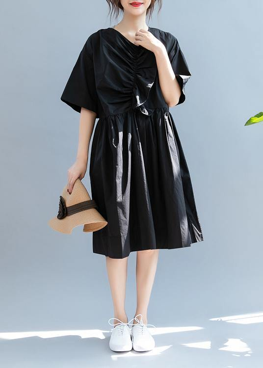 Beautiful black clothes For Women v neck Cinched A Line summer Dress
