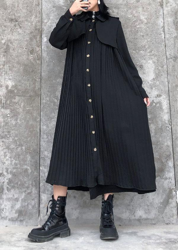 Beautiful black cotton quilting clothes lapel wrinkled Maxi Dresses