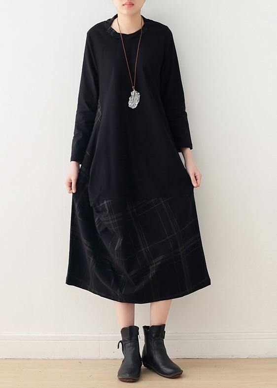 Beautiful black cotton quilting dresses o neck patchwork Maxi Dress