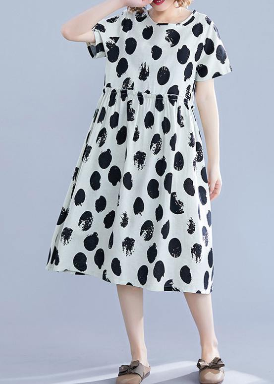 Beautiful black dotted Cotton tunic pattern o neck short sleeve shift Dresses