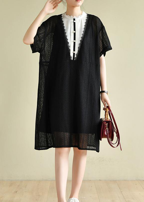 Beautiful black striped Wardrobes patchwork A Line Dress