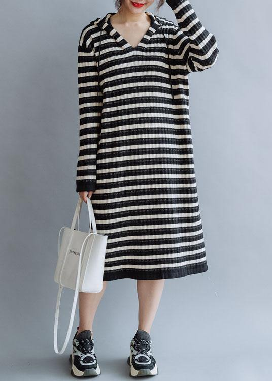 Beautiful black striped cotton quilting dresses hooded Kaftan fall Dress