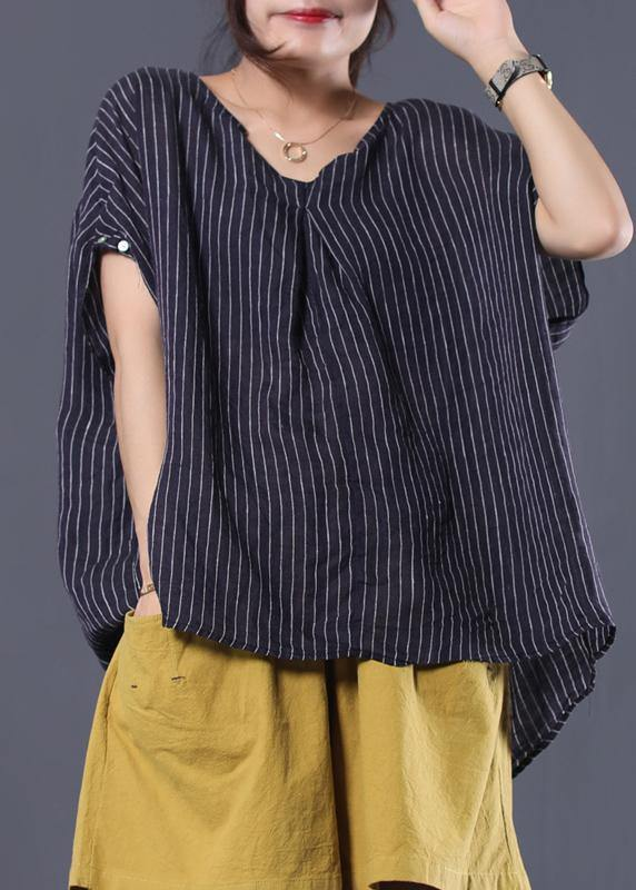 Beautiful black striped linen clothes For Women v neck baggy summer top