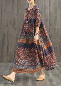 Beautiful blended Wardrobes Drops Design Retro Print Washed Comfortable Loose Dress