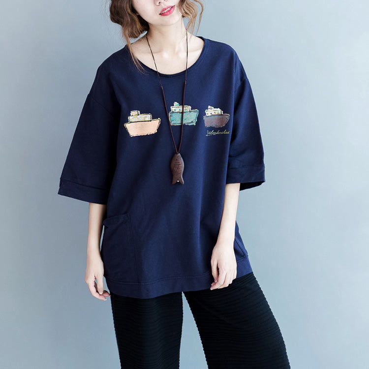 Beautiful blue cotton blouses for women top quality Fabrics Half sleeve pockets Art shirts