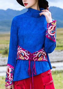 Beautiful blue cotton crane tops embroidery box high neck blouse