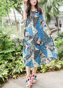 Beautiful blue print cotton quilting clothes sleeveless tie waist Maxi summer Dresses