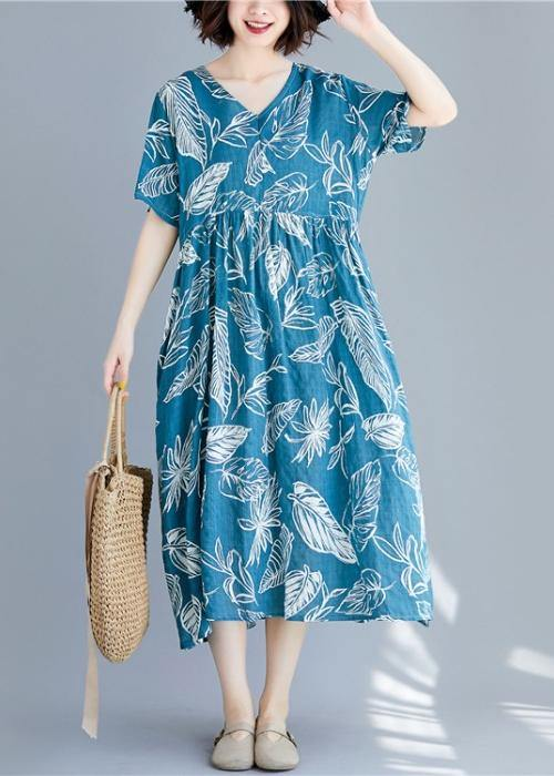 Beautiful blue print linen clothes For Women v neck wrinkled cotton summer Dresses
