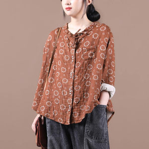 Beautiful brown print top silhouette o neck Button Down Vestidos De Lino blouses
