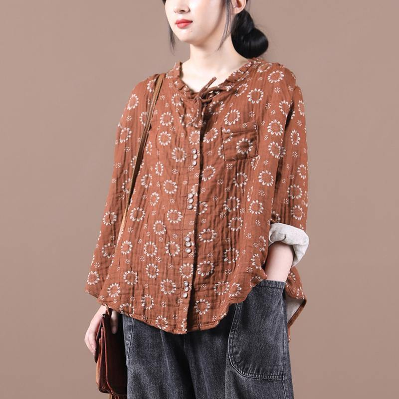 Beautiful brown print top silhouette o neck Button Down Dresses blouses
