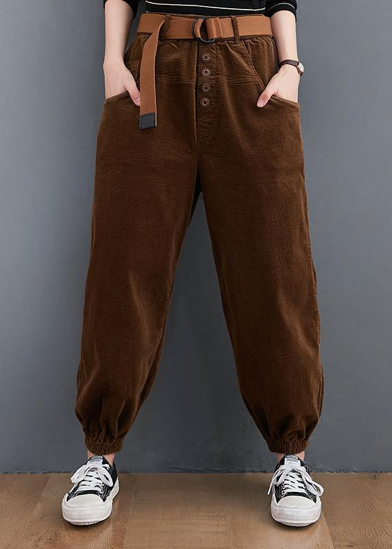 Beautiful casual pants unique chocolate Sewing pockets thick pants