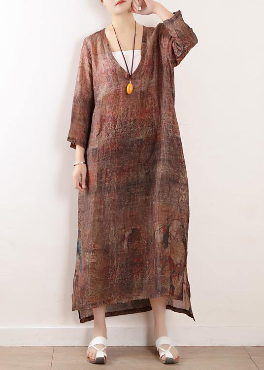 Beautiful chocolate print linen clothes For Women v neck side open Maxi Dresses