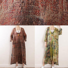 Load image into Gallery viewer, Beautiful chocolate print linen clothes For Women v neck side open Maxi Dresses